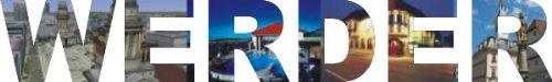 Preisvergleich Produktbild INDIGOS UG - WANDTATTOO / Wandsticker / Wandaufkleber / Aufkleber farbige Wandschrift Städtename Werder mit Sehenswürdigkeiten 180 x 27 cm Länge