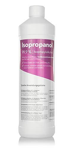 Isopropanol 99,9% Reinigungsalkohol für Haushalt, Medizin und Hobby - Isopropylalkohol ohne Farbe oder Duftstoffe (1000 ml)