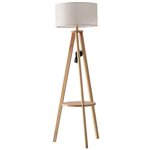 Homcom Lampadaire trépied Design scandinave dim. 50L x 50l x 154 cm 40 W Max. étagère intégrée Bois Massif pin Abat-Jour Toile Lin Beige