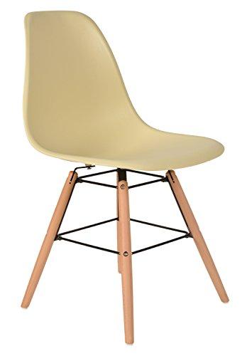 1 x Design Klassiker Stuhl Retro 50er Jahre Barstuhl Küchenstuhl Esszimmer Wohnzimmer Sitz in Beige mit Holz