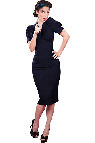 Babyonline Damen Kurz Arm Hepbum Stil Faltenrock Vintage Retro 50er 60er Jahre Bleistift Rockabilly Pinup Abendkleid Cocktailkleid Sommerkleid XL -