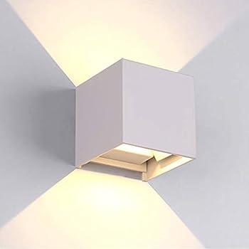 7W Moderno Lampade da Parete per Interni / Esterno Led Bianco, Applique da Parete Impermeabile IP65 Lampada Muro in Alluminio Angolo Su e Giù Regolabile design 3000K Bianco Caldo