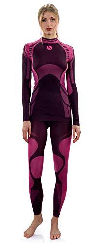 Sesto Senso® Damen Funktionsunterwäsche Set Langarmes Unterhemd Funktionsshirt und Lange Unterhose Funktionsleggings Thermoaktiv (M, Rosa)