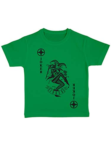 clothinx Kinder T-Shirt Bio Karneval & Fasching Spielkarte Joker Kostüm Grün/Schwarz Größe 128