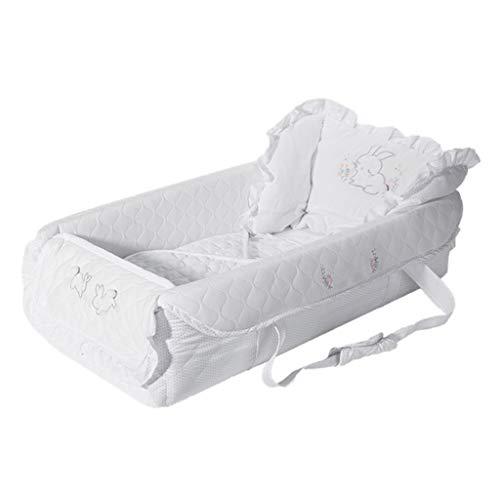 Réducteur de Lit Babynest Lit portatif pour Nouveau-né, Coussin de Jeu Blanc pour bébé, adapté à la Naissance pour Les Nouveaux-nés, Blanc, 75 × 40 × 20 cm