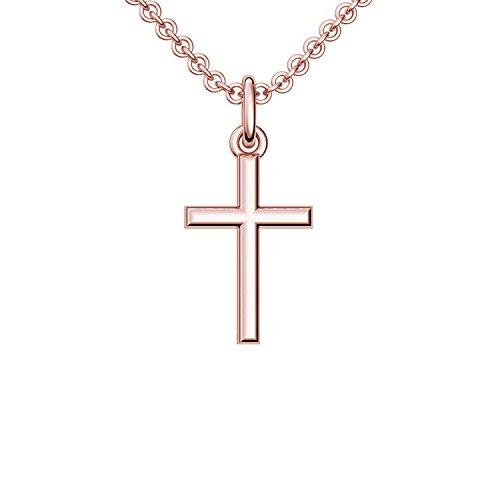 Kreuzkette Rosegoldkreuz Kette mit Kreuz Anhänger hochwertig vergoldet! *inkl. Luxusetui + * Kreuz Kette Kreuz Anhänger Kreuz Roségold vergoldet Kreuzanhänger Religiöse FF05 VGRS45