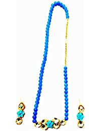 My Desire Fashion Jewellery Handmade Necklace With Blue Beads Necklace Set For Women