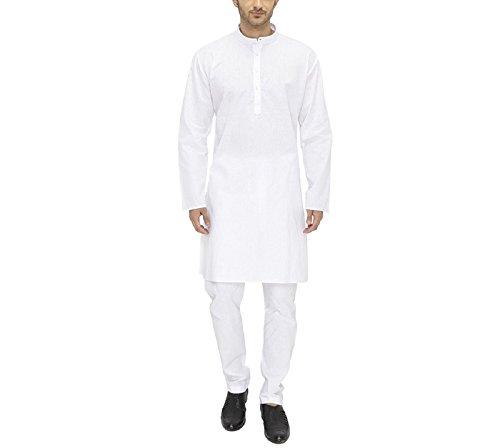 Royal Men's Cotton Kurta Pyjama Set (ROYAL_194_White _Small)