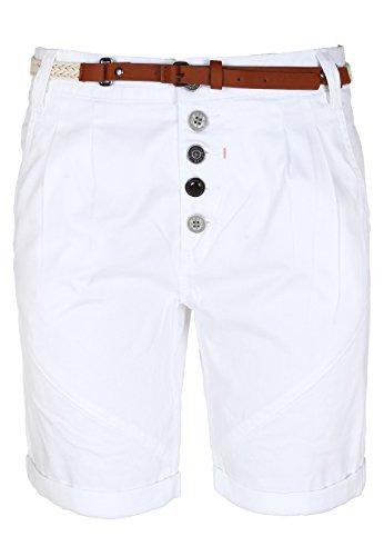 SUBLEVEL Damen Chino-Shorts mit Gürtel | Bermuda Hose kurz | Kurze Hose für Frauen in angesagten Farben white L