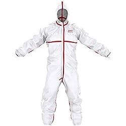 Traje de protección química SafeComfort Modelo T | PPE Cat. III Tipo 4/5/6, con Capucha, Costuras pegadas, Cremallera de Dos vías, hermético a Las partículas y a Las Salpicaduras - Talla L