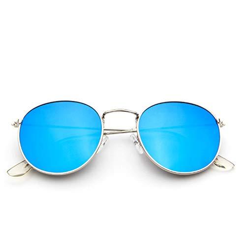 Zbertx Gold Metallrahmen Sonnenbrille Frauen Spiegel Runde Sonnenbrille Beschichtung Reflektierende Retro Sonnenbrille Eyewear,Silberner Spiegel blau