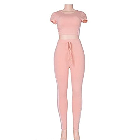 Women's Short Crop Long Pants Casual Suits And Sets Pink / M