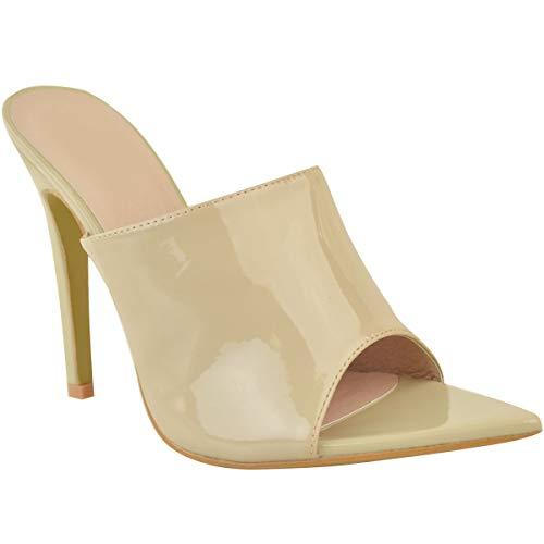 Fashion Thirsty Damen Sandaletten mit hohem Stiletto-Absatz - minimalistisch - Lack-Optik - Nudefarbenes Lackleder-Imitat - EUR 40