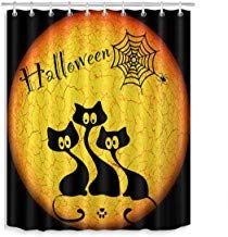 prz0vprz0v Surreal Shower Curtain, Halloween Shower Curtain, Black Cat Spider Web Nightmare Before Christmas Shower Curtain for Bathroom Waterproof Fabric 71 x 79 Inch (Before Nightmare Christmas Halloween Happy)