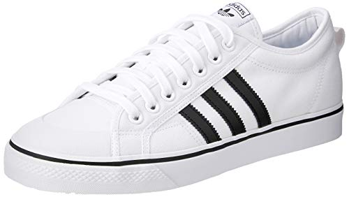 adidas Herren Nizza Basketballschuhe, Elfenbein (Ftwwhtcblackftwwht), 42 2/3 EU - Adidas Canvas Schuhe