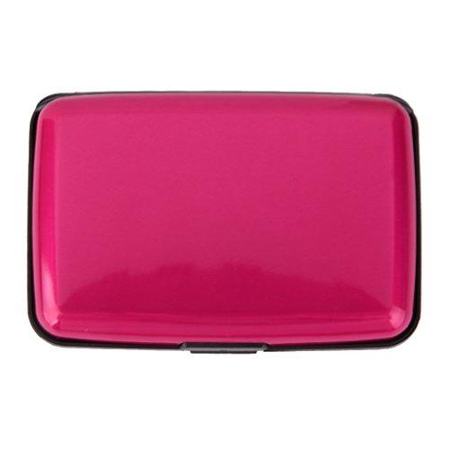 Mini Porte Carte de Crédit Etui en Aluminium Etanche pour Carte d'Identité - Rose Rouge
