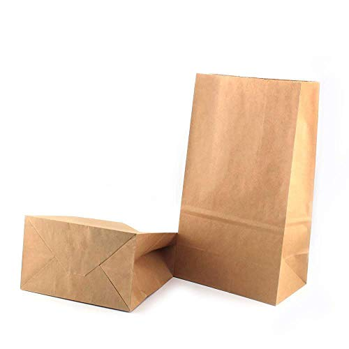 RUBY - 50 Bolsas de papel kraft marrón con base/bolsas de fiesta/calendario de adviento (18cm x 11cm x 32cm)