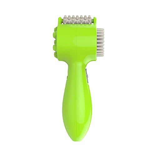 SymbolLife 3-in-1 Multi-fonctionnel masseur de corps, Rouleau à aiguilles + Brosse de Nettoyage + Masseur, Outils du visage et corps beauté, Vert