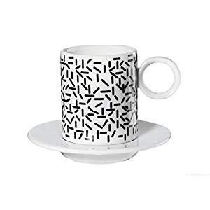 ASA 16012038 Memphis - Tasse à Espresso avec Sous-Tasse Strokes - 0,1 l - Ø 5,5 cm - hauteur?: 6,3 cm
