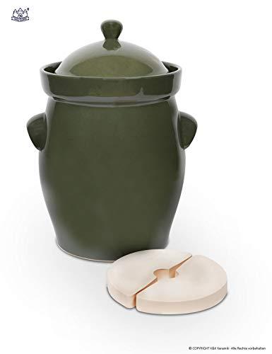 Original Bunzlauer Keramik Gärtopf/Einlegetopf/Sauerkrauttopf 20 Liter olive-grün - inkl. Beschwerungsstein und Deckel