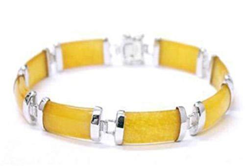 Sunwd Cuentas Pulsera,Brazalete Yellow Selling Jadeite Chain New Link Bracelet 7.5' AAA Dongguan Girl Jewerly Store Jade