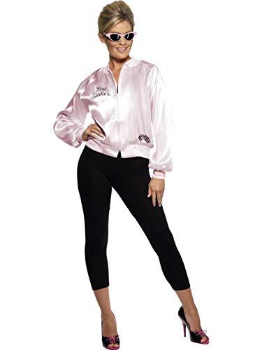 Halloweenia - Damen Frauen 50er Jahre Grease Pink Ladies Jacke Kostüm mit besticktem Logo, perfekt für Karneval, Fasching und Fastnacht, L, Rosa (Lady Jacke Kostüm Pink)