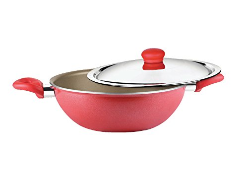 Prestige Omega Gold Induction Base Non-Stick Aluminum Kadhai with Lid, 260mm/. Prestige Non Stick