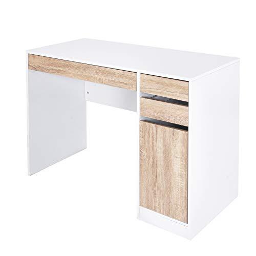 SITU SCD0028 Schreibtisch Computertisch PC Laptop Tisch mit 3 Schubladen und 1 Schrank Holt Stahl Weiß -