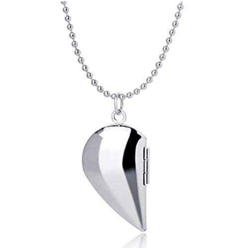 Half Heart Locket Anhänger Halsketten, die Bilder hält Charm Silber überzog Schmuck für Frauen Männer