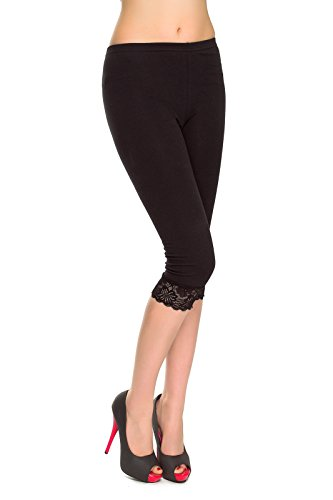 MITAAMI Women's Cotton Leggings with Lace Trim Edges Size 8-22 UK