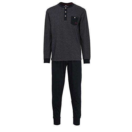TOM TAILOR Herren Pyjama, langarm, Baumwolle, Single Jersey, grau, melange, mit Bündchen 50 (Baumwoll-jersey-pyjama Aus Set)