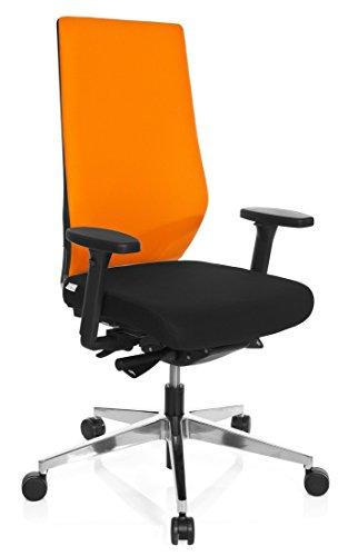 hjh OFFICE 608840 Sedia da ufficio / Sedia girevole PRO-TEC 700 tessuto, nero/arancione