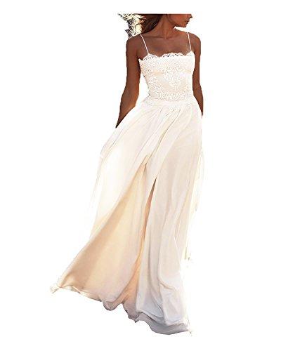 DreamyDesign Boho Chiffon Spitze Hochzeitskleid Brautkleid Spaghetti Träger Strandbrautkleid Lang