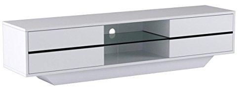 Robas Lund 59075W14 Blues Media TV-Lowboard, Klarglasboden, RGB LED Wechselbeleuchtung mit Fernbedienung, MDF Hochglanz weiß lackiert - 10