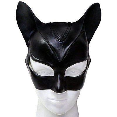 VAWAA Maske Cosplay Kostüm Latex Sexy Helm Phantasie Erwachsene Halloween Kopfbedeckung Schwarz Halb Gesicht Maske Cosplay Maske Party Prop