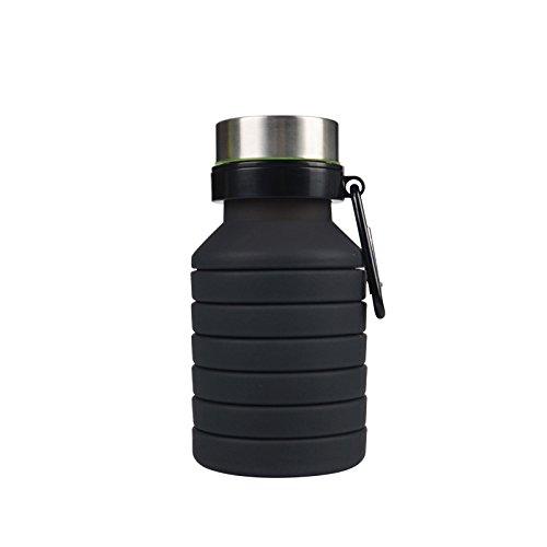 Kjia silicone pieghevole bottiglie d' acqua sport camping mensa bottiglia di grado medico privo di bpa, nero