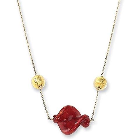 Icecarats Designer Di Gioielli 14Ky Oro Rosso Collana Murano Perle Di Vetro In 16 Pollici