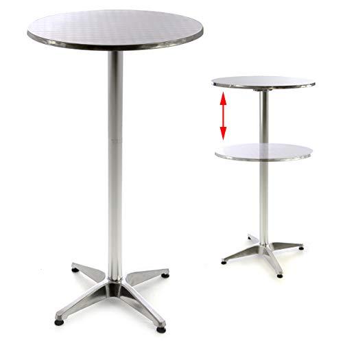 Nexos SC00064 Stehtisch Bartisch 110 cm Aluminium Silber glänzend Tischplatte 60 cm Platte 2 cm Edelstahl Hochzeit Empfangstisch Bistrotisch,