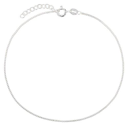 Fußkettchen, Fußkette aus 925 Sterling Silber als Fußschmuck für Damen und Mädchen, Länge 22 – 25cm, Modell 25