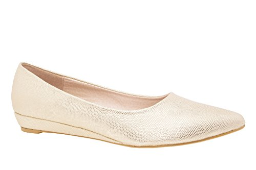 Andres Machado.AM549.Ballerines Bout Fin Soft .Pour Femmes.Grandes Pointures 42/45. Oro.N