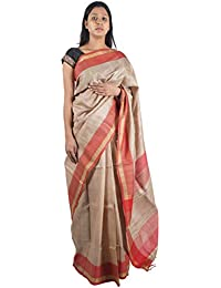 Bihar Khadi Women's Silk Saree (BKSKSRW0010, Off-White)