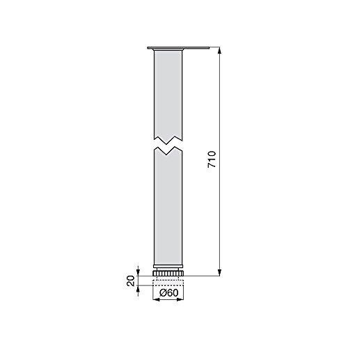 4x GedoTec® Edelstahl Tischbein Tischfuss Möbelfuß Verstellfuß | Höhe 710 mm | 30 mm Höhenverstellbar | Ø 60 mm | inkl. Befestigungsmaterial | Markenqualität für Ihren Wohnbereich -
