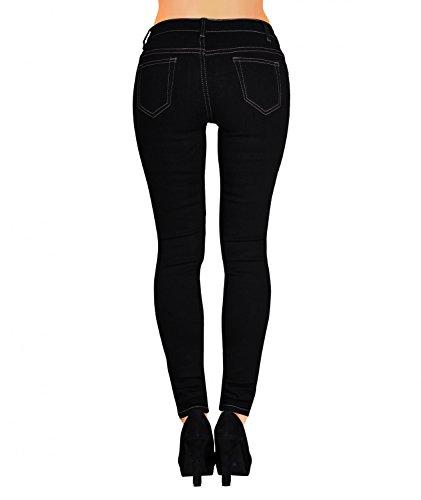 Damen Jeans Röhrenjeans (430) Denim Dunkel Schwarz