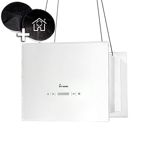Hotte aspirante design, hotte décorative îlot (40cm, inox, verre blanc, extra silencieux, 4 marches, éclairage LED, touches sensitives TouchSelect, montage câble) BOX400W - KKT KOLBE