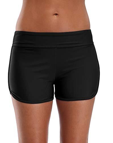 BeautyIn Wassershorts für Damen Active Frauen Bademode Bikinishorts Schwimmen Badeshorts, Schwarz, XL (Swim Xl Shorts Frauen)