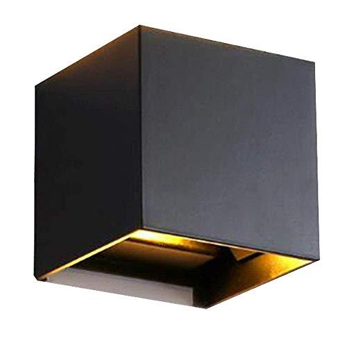 Unten Innen 9 Licht (LED Wandleuchte Innen Up Down Schwarz Modern Wandlampe Aluminium Leuchten Wandlicht Oben Unten Lampen Spotlicht Wandleuchte Für Schlafzimmer Wohnzimmer Korridor Kühles weißes Licht 6W)