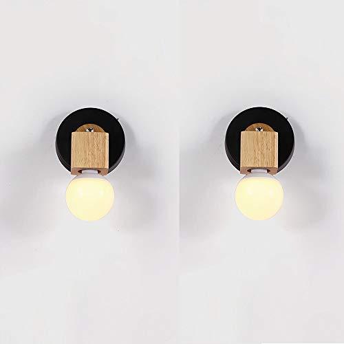 LDDENDP Einfache und kreative Holz Wand Wand Tischlampe Hochwertige Metallfarbe Warm Schlafzimmer Nachttischlampe Korridor Balkon Wohnzimmer Lampe Gang Veranda Lichter (Color : B)