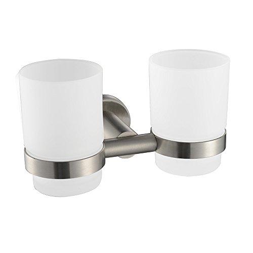 QPLA@acier inoxydable 304 double accessoires de salle de bain porte coupe brosse à dents (175x96x100MM)