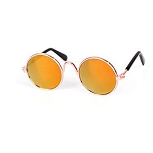 DFHJSXD Modische Haustiere Katzen metallrahmen Sonnenbrille Winddicht Haustiere Augen tragen uv schützen sonnenbeständige Katzen Sonnenbrille zubehör-rot reflektierend