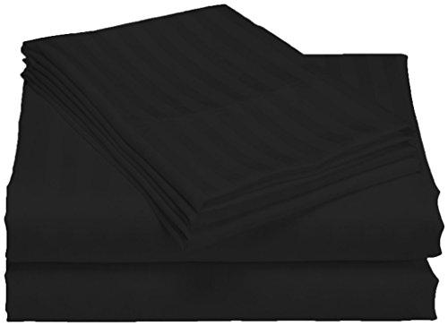 300tc ägyptische Baumwolle Kissenbezug (SCALABEDDING 100% ägyptische Baumwolle, Fadenzahl 300, Tief Pocket Sheet Set-Cal King schwarz gestreift)
